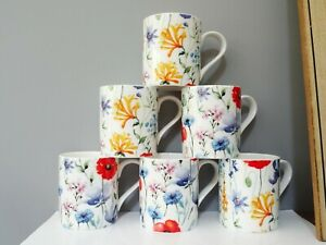 Set of 6 Flower Floral Collection in Bone China Coffee Cans Mugs Cups Gift Idea