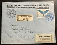 1924 Basel Switzerland Airmail Commercial cover To Beru Sc# C10