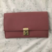 ASOS Travel Wallet Pink Leather Tabbed Organizer Clutch Large Divided