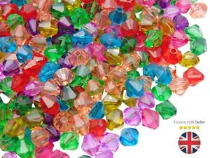 8mm - Mixed Colour Acrylic Faceted Bicone Beads Kids Craft Jewellery Beading UK