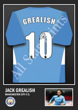 More details for jack grealish manchester city signed football shirt print | wall art poster