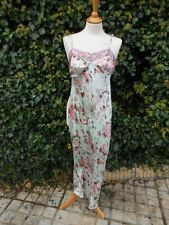 Next Size S 100% Silk Minty Green Long Oriental Floral Dress Cruises Parties!