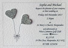 10 Handmade Personalised Wedding Invitations Day / Evening Invites Inc Envelopes