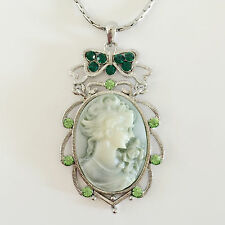 New Angel Vintage Style Cameo Olive Green Floral Charm Chain Necklace NE1051