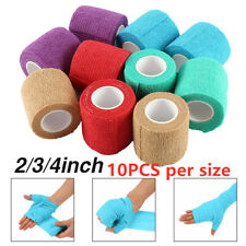 10 Rolls Cohesive Bandages 5/7.5/10cm Medical Grade Sports wrap Treatment Gauze