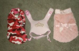 LOT BUY OF 3 DOGGIE FASHIONS FOR FEMALE' SIZE SM-MED NICE-FREE SHIPPING