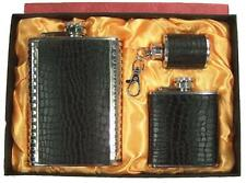 BLACK 3 PC SIZES LEATHER FLASK GIFT SET key chain DRINKING HIP #GI410 LIQUOR