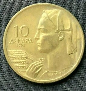 1955 Yugoslavia 10 Dinara Coin XF +     World Coin  Aluminum bronze     #K1538