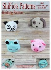 KNITTING PATTERN for ANIMAL PANDA PIG FROG DOG HAT PATTERNS #165 NOT CLOTHES
