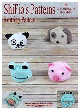 KNITTING PATTERN for ANIMAL PANDA PIG FROG DOG HAT PATTERNS #165 ShiFio Patterns