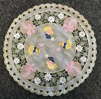 "2 Pcs 16"" Round Easter Embroidery Lace Chicken Egg Doily Doilies Holiday Party"