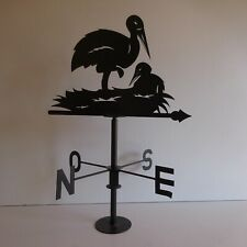 Girouette sculpture fer forgé cigogne fait main art déco Alsace France N5027