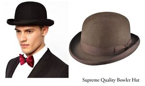 Mens Brown Bowler top Hat Supreme Quality Wool for special days -iHATS London UK