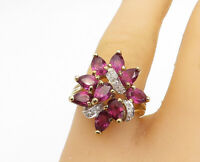 925 Sterling Silver - Amethyst Gold Plated Cluster Cocktail Ring Sz 8 - R16907
