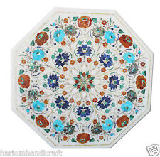 "12"" White Marble Coffee Center Table Multi Gem Inlay Hallway Arts Decorate H1842"