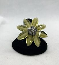 Shimmery Spring Yellow Flower Ring #2706