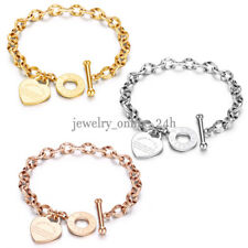 Women Charm Stainless Steel Heart Bracelet Silver Gold Girl Link Chain Bangle