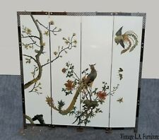 Vintage Oriental Asian Soapstone Peacock White Four Panel Screen ~ Room Divider