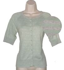 Monsoon~Grey & green 1/2 sleeved striped button up cardigan cotton mix-Size 12