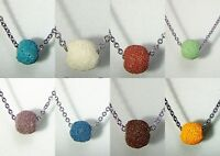 Lava Bead Diffuser Aromatherapy Essential Oil Scent Necklace Stainless Steel 18""