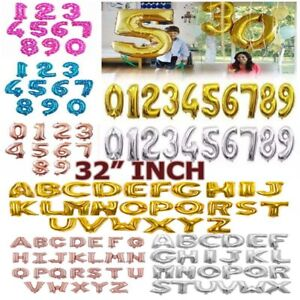 "32"" Giant LETTERS NUMBERS 0-9 FOIL BALLOONS Inflating/Air. Birthday Party"