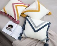Fringe Tassels Knitted Chevrons Cushion Cover Home Cafe Decorative Pillow Case