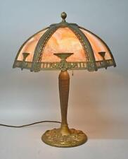Antique Miller Lamps Two Socket Bent Slag Caramel Glass Panel Table Lamp