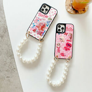 Cute Barbie Pearl Chain Strap Phone Case For iPhone 8 7 Plus 11 12 Pro Max XS XR