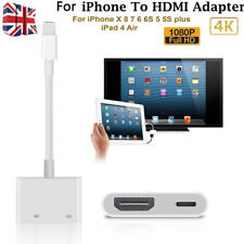 UK Adapter For Apple Iphone 6 7 8 + X iPad IOS to HDMI Cable Digital AV TV Lead