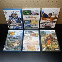 6 Game Wii Sports Lot-Bass Pro Shops:The Strike,Wii Play,NBA2K10,Cabela's.Tested