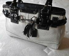 NEW COACH MED WHT/BLK BRAIDED PEBBLED LEATHER CARRYALL TOTE BAG PURSE SATCHEL