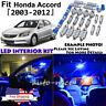 14x Blue LED Interior Lights Package Kit For 2003 - 2010 2011 2012 Honda Accord