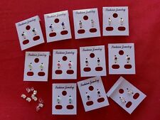 JOBLOT-10 pairs of 8 different colours  0.4 cm crowset diamante studs.UK made.