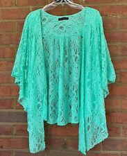 Womens Plus Size 6X NEW Green Soft Lace Cardigan Bolero Shrug Top