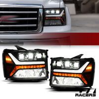 For 2007-2014 GMC Sierra Blk Full LED Sequential Tube Tri Projector Headlights