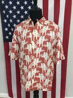Parrots Pure Linen Hawaiian Shirt men's XL birds camp cruise tropical pink 26003