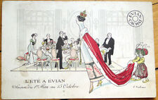 1910 French Mineral Water Advertising Postcard: Evian Cachat-Fabiano/Artist-Sign