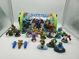 SKYLANDERS LOT Spyro's Adventure Carry Case Tote +17 Figures Swapforce Crystals