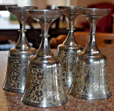 """Chalice Goblet etched Silver Plate/Brass World Gift Z.Y.India 6"""" x 3"""" SET OF 4"""