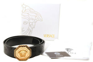Brand New in Box VERSACE Medusa Gold Hexagon Black Embossed Leather Belt Sz 105