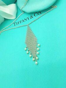 "Tiffany & Co. Sterling Silver Elsa Peretti Mesh Pearl Fringe 16"" Necklace"