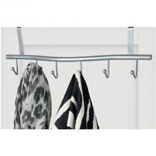 Metall Türgarderobe Tür-Garderobe geschwungene Türhakenleiste mit 6 Haken silber