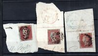GB QV 1d Penny Red imperfs on original pieces WS16348