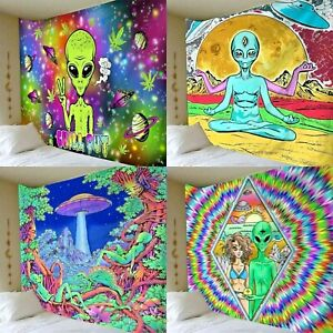 Alien Tapestry Psychedelic Trippy Scenery Hippie Pothead Wall Hanging Throw Deco