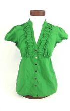 Maurices Womens Size Large Green Button Down Blouse Ruffled Neckline and Sleeves