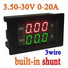 DC 3.5-30v 20A Shunt Voltage Current Meter Digital LED Voltmeter Ammeter 12v 24v