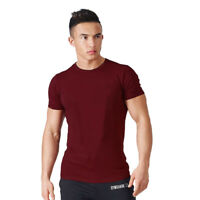 Men Summer Fit Gym T-shirt  Bodybuilding Muscle Training O-neck Cotton Tee