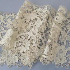 "Antique 19th Century Handmade Italian Burano Needle Lace Trim 7"" Wide X 24"""