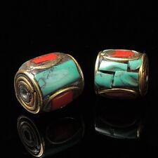 2 Beads Handmade Nepal Artisan Turquoise Coral Brass Nepali Nepalese NP005x2
