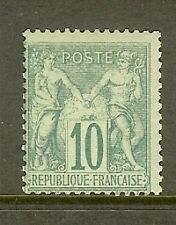"FRANCE STAMP TIMBRE N° 65 "" SAGE 10c VERT TYPE I "" NEUF xx TB SIGNE"